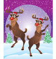 Rudolph The Reindeer Enjoying Snowfall vector image