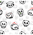 seamless pattern with cute panda asian bear vector image