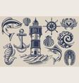 set design elements for seafood vector image vector image