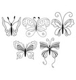 set of cute cartoon butterflies isolated on white vector image vector image