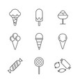 set simple different sweets icon in trendy vector image