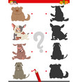 shadow game with cartoon dogs vector image vector image