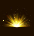 shining golden bright light with sparkles vector image