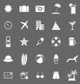 Summer icons on gray background vector image