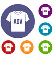 t-shirt with print adv icons set vector image vector image