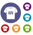 t-shirt with print adv icons set vector image