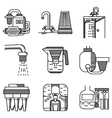 Water filters flat line icons vector image