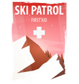 winter sport ski patrol mountain landscape vector image