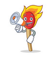with megaphone match stick character cartoon vector image vector image