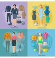 Woman Clothes Square Concept Icons Set vector image vector image