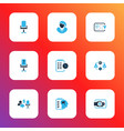 work icons colored set with businesswoman vector image vector image