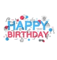 Happy Birthday Concept with icons and vector image