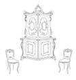 Antique cupboard and chairs vector image