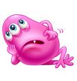 A bored three-eyed pink monster vector image