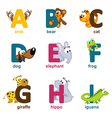 alphabet animals from A to I vector image vector image
