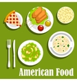American lunch flat icon with fast food desserts vector image