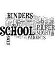 back to school binders and paper items text word vector image vector image