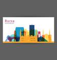 bursa colorful architecture skyline vector image