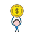 businessman character walking and carrying dollar vector image vector image