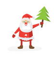 cartoon santa in red hat holding christmas tree vector image vector image