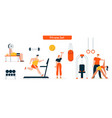 character fitness in gym set vector image vector image