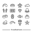 collection seafood line icons vector image