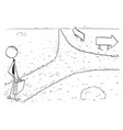 conceptual cartoon of business man on crossroad vector image vector image