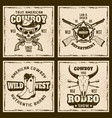 cowboy and rodeo four colored vintage emblems vector image vector image