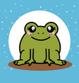 cute and lovely frog cartoon vector image vector image