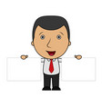 cute cartoon businessman holding two blank sign vector image vector image
