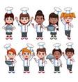 cute chef kids cartoons vector image vector image