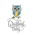 cute hand drawn card with little owl and vector image vector image