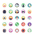 database and cloud technology icons vector image