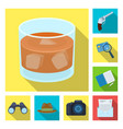 detective and attributes flat icons in set vector image