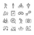 eco tourism line icon set vector image