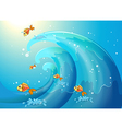 Fishes Riding Waves vector image vector image