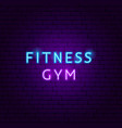 fitness gym neon text vector image vector image