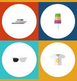 flat icon beach set of clothes boat spectacles vector image vector image
