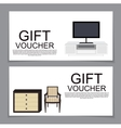 Gift Voucher Template with variation of furniture vector image vector image