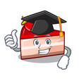 graduation strawberry cake character cartoon vector image vector image