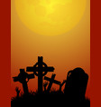 halloween red and yellow background with zombie vector image vector image