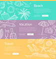 hand drawn summer travel elements banners vector image