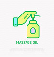 hand pushing on the bottle with pump vector image