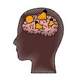 human face brown silhouette with brain and light vector image vector image