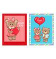 i love you heart shape balloon in hands teddy-bear vector image
