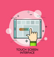 index finger and tablet pc concept of application vector image vector image
