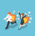 isometric businessman running with back on fire vector image vector image