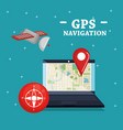 laptop with gps navigation software vector image