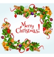 Merry Christmas poster Garland frame vector image vector image