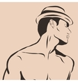 Muscular man in swimming trunks and hat vector image